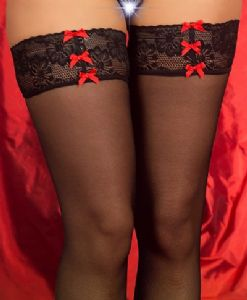 Sheer Black Hold Up Stockings Red Bow